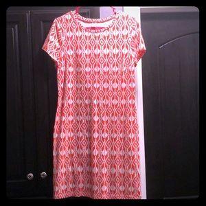 Orange and white knit print dress.
